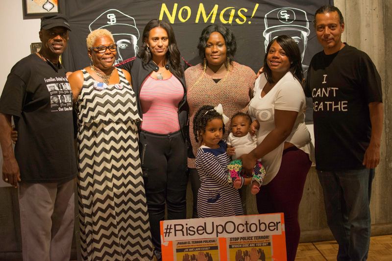 From left: Uncle Bobby (Cephus Johnson), uncle of Oscar Grant, killed by Bay Area Rapid Transit Police January 1, 2009; Angela Naggie, mother of O'Shaine Evans, killed by San Francisco police October 7, 2014; Gabrielle McCarter, wife of Rev. David McCarter, killed by Jasper Newton County, Texas sheriffs; Cadine Williams, sister of O'Shaine Evans; Chemika Hollis, partner of Nate Wilks, killed by Oakland police August 12, 2015; Carey Downs, father of James Rivera, Jr, killed by Stockton police July 22, 2010.