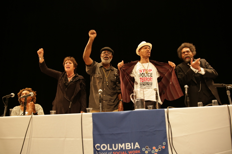 Kimberlé Crenshaw, Eve Ensler, Carl Dix, Jamal Joseph, Nicholas Heyward, Sr., Cornel West at Columbia University October 7