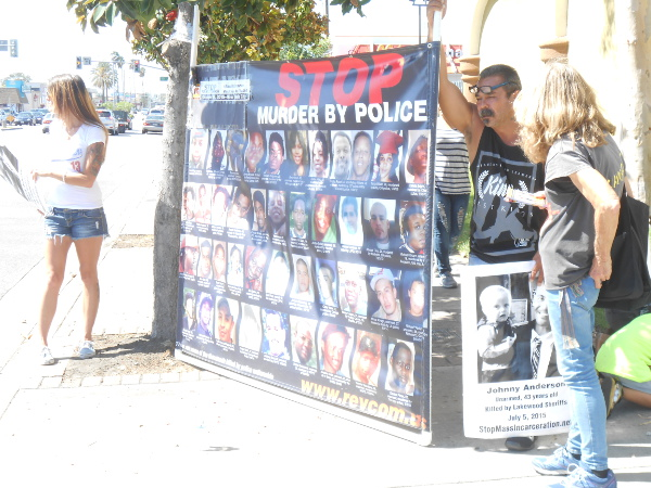 On October 3, a team building for #RiseUpOctober – including family and friends of Johnny Ray Anderson – went to the busy Carson Street in Hawaiian Gardens, near where Johnny was murdered by Lakewood sheriffs on July 5, 2015