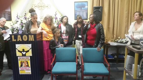 At the October 5 forum in Zion, Illinois—from left, Lorien Carter, aunt of Tony Robinson, murdered by Madison, Wisconsin, police; Sharon Irwin, Tony's grandmother; Lorien's daughter; LaToya Howell, mother of Justus Howell, murdered by Zion police; Gloria Pinex, mother of Darius Pinex, killed by Chicago police; Alice Howell, grandmother of Justus; Venus Anderson, mother of Christopher Anderson, killed by Highland Park, Illinois, police.