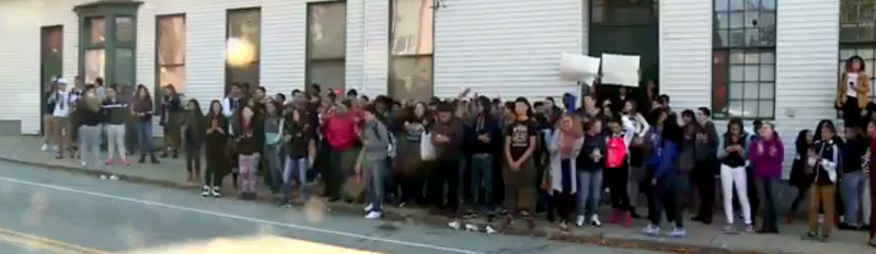 Students at Tolman High in Pawtucket took to the streets to protest the brutality and arrests of Ivander and Tyler