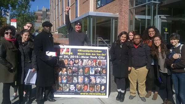 Getting out the word about Rise Up October at Brown University in Providence, Rhode Island