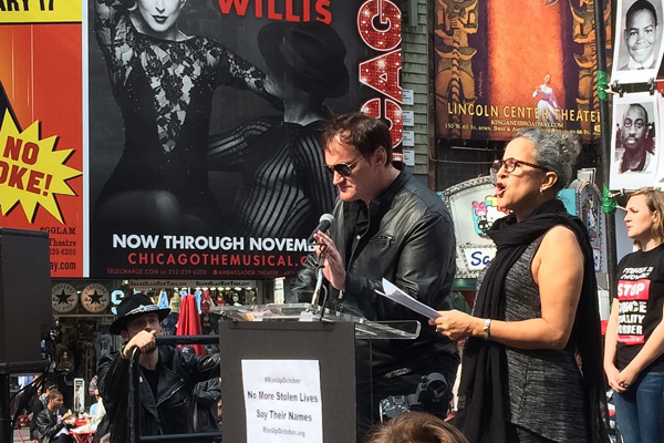 Quentin Tarantino and Gina Bellafonte read names of those murdered by police