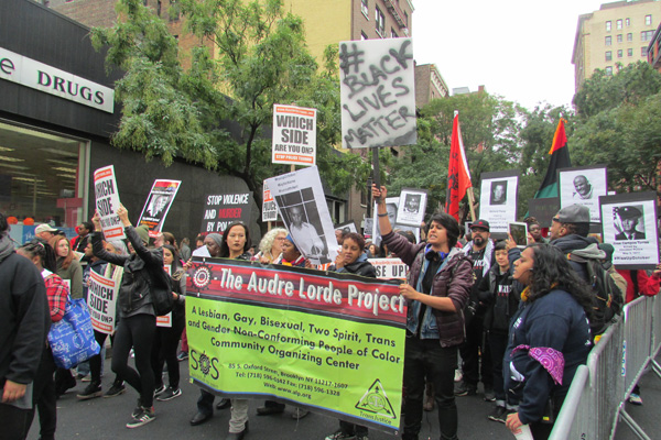 The Audre Lorde Project march to end police brutality and murder. They demand justice for the McNeil family, whose sister and mother, Yvonne McNeil, a homeless lesbian, was murdered by the NYPD in October 2011.