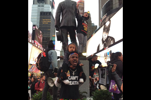 Youth and others take the message to Times Square. Police attacked, and arrested six people.