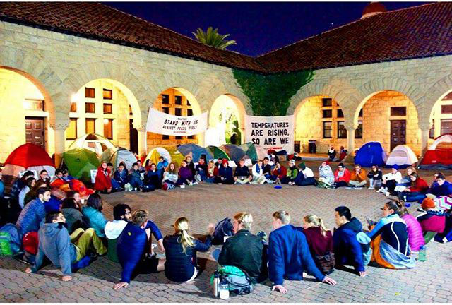 Sit-in at Stanford University demanding full divestment from fossil fuels