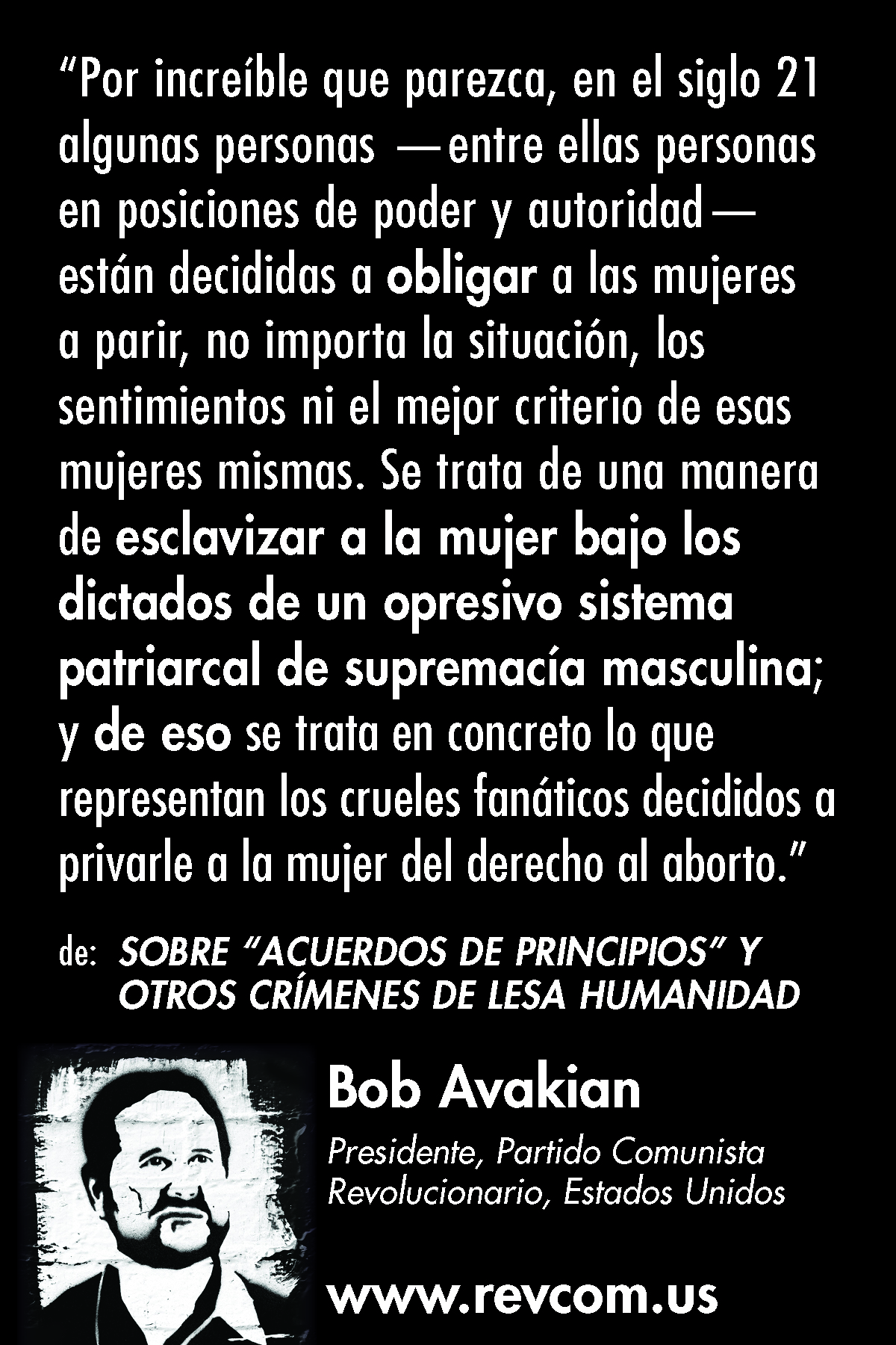"Bob Avakian quote: ""Unbelievable as it may seem..."""