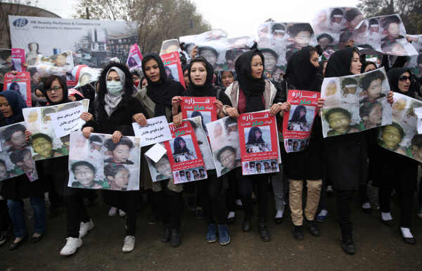 Women march in Kabul, Afghanistan, November 11, calling on the government to resign. AP photo
