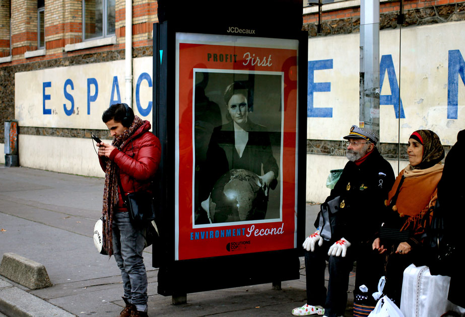 "Artists practicing ""brandalism"" replaced messages of advertisements in Paris."