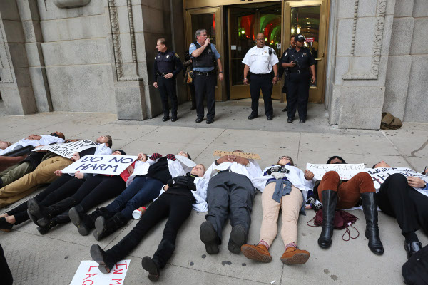 Medical students die-in at City Hall, Chicago.