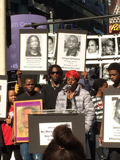 Gloria Pinex and three sons at Rise Up October in New York, October 2015.