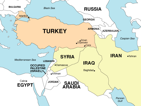 Map Mid-east Turkey focus