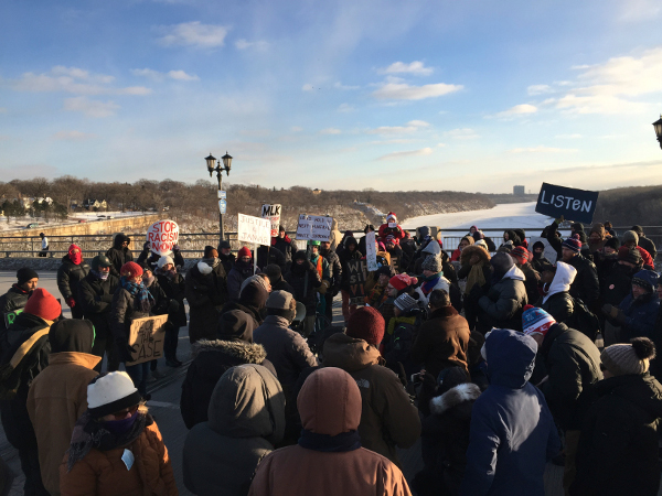 Protesters block bridge spanning the Mississippi River between Minneapolis and St. Paul, Minn., demanding justice for Jamar Clark and Marcus Golden, January 18.