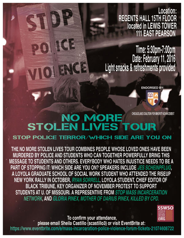 Poster for No More Stolen Lives tour at Loyola University, Chicago