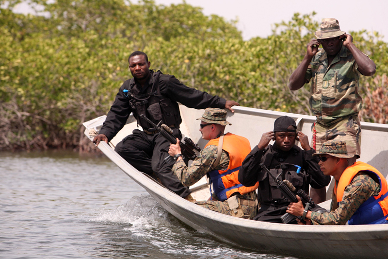 U.S. Marines train with Nigerian navy forces in 2011.
