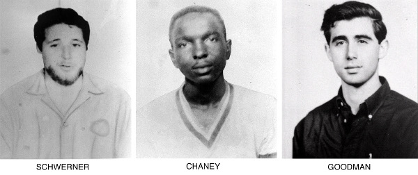 James Chaney, Michael Schwerner, and Andrew Goodman, murdered by KKK in 1964