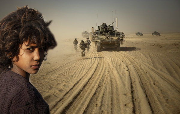 Girl in India, US troops in Afghanistan