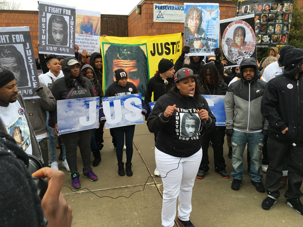 LaToya Howell demands justice for her son Justus, murdered by Zion, IL police on April 4, 2015.