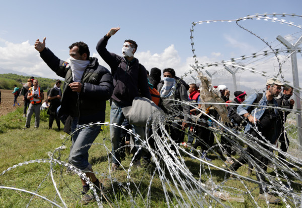 Migrants protesting the closed border at Idomeni, Greece, April 10