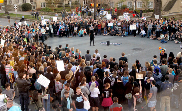 Rally protesting HB2, Chapel Hill, NC, March 29