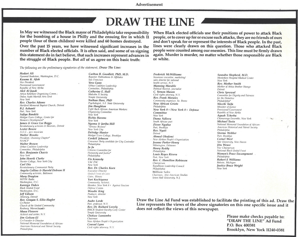 Draw the Line Statement about MOVE Massacre