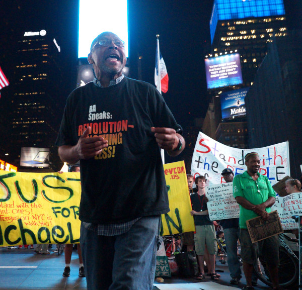 Will Reese at Times Square protest