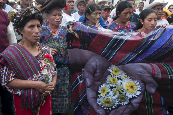 Ixil indigenous women outside the court the day after a judge ordered the suspension of the genocide trial against Guatemala's former dictator General Efrain Rios Montt and General Jose Mauricio Rodriguez Sanchez, April 19, 2013.
