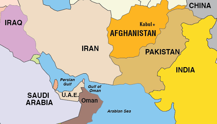 Map of Central-South Asia, focus on Afghanistan