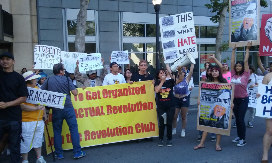 Protest at Trump rally, San Jose, June 2