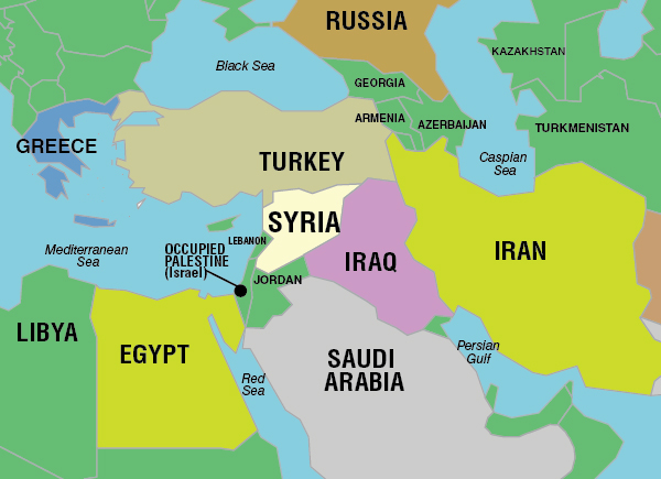 Map of Middle East focused on Syria