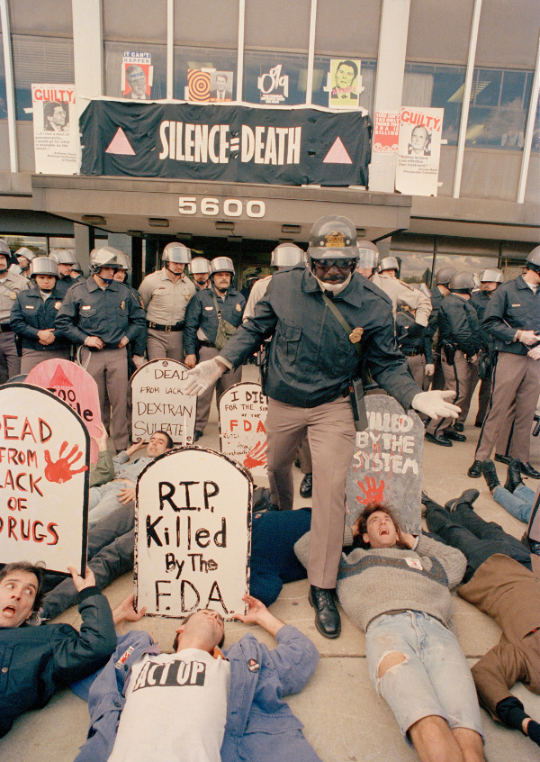 ACT UP demonstrators, angry with the government's response to the AIDS crisis, shut down the Food and Drug Administration, Rockville, MD, October 1988.