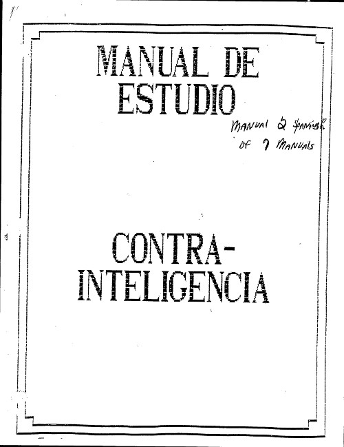 Cover of one of the training manuals used at the School of the Americas.