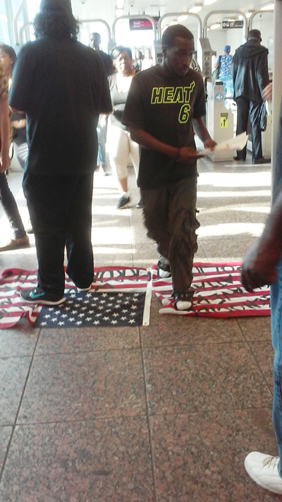 Flag on the floor of the Chicago Transit Authority station