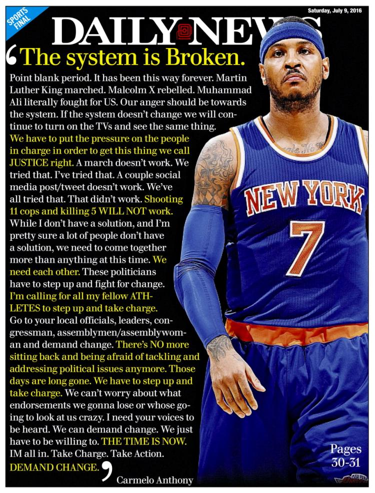 """official photos 61e86 2ed56 Cheers to Carmelo Anthony for Call to Fellow Athletes: """"I ..."""
