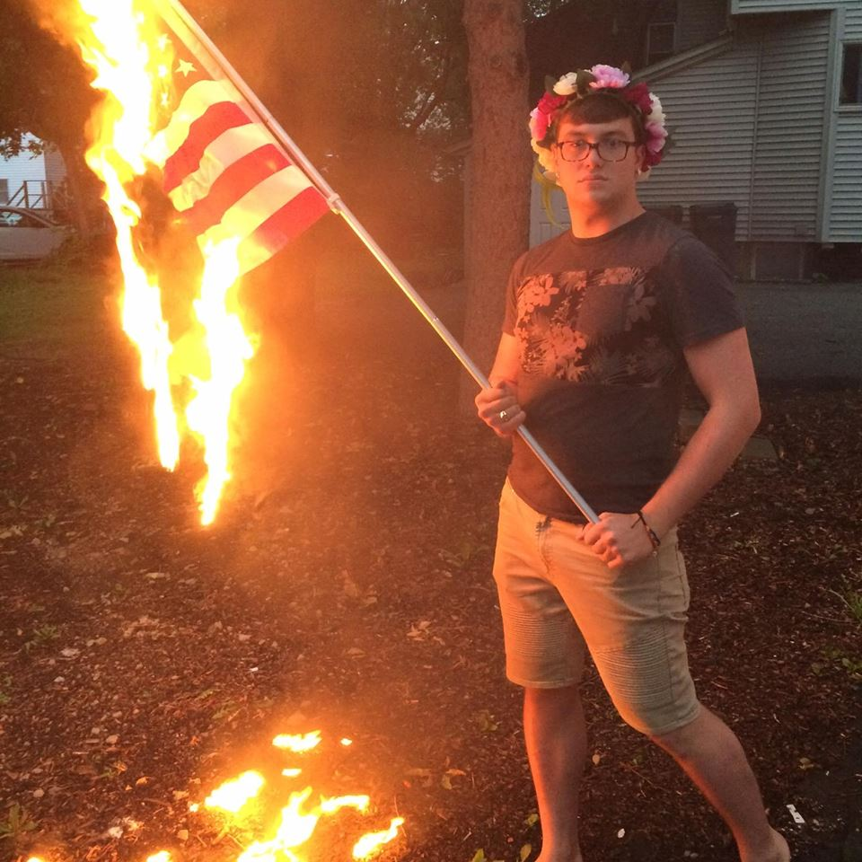 Bryton Mellot, July 4 flag burning