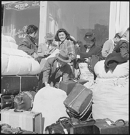 Part of a contingent of 664 people of Japanese descent, the first to be removed from San Francisco, April 16, 1942.