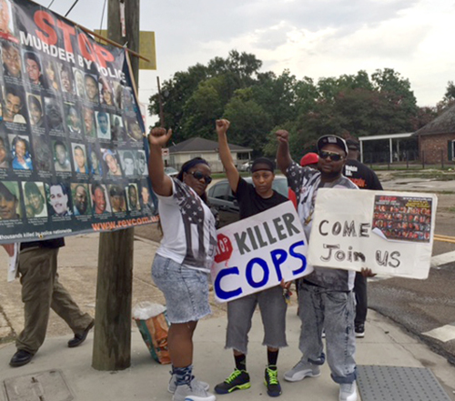 People resumed protests against the police murder of Alton Sterling at the Triple S market on July 22.
