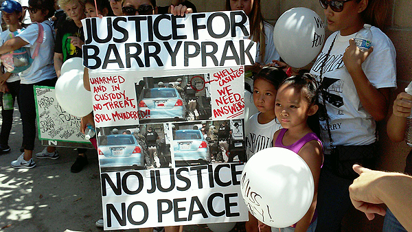Demanding justice for Barry Prak, who was shot dead by Long Beach, CA police on June 28.