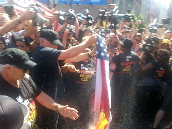 Joey Johnson burning the U.S. flag at the Republican Convention, July 20.