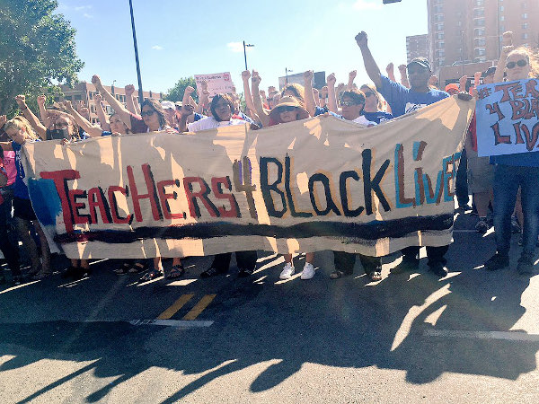 Teachers demanding justice for Philando Castile and other victims of murder by police, Minneapolis, July 19