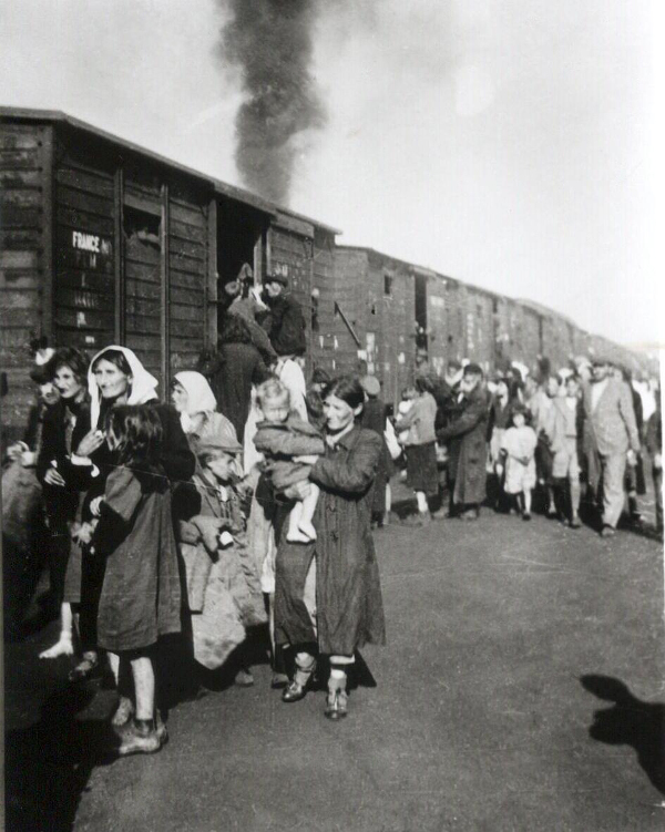 Jews being loaded onto trains in Poland, destined for the Treblinka death camp.