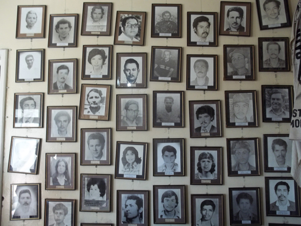 Photos of the disappeared in the office of the Committee of Relatives of the Disappeared in Honduras.