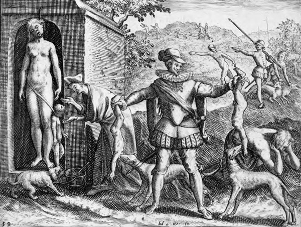 Spaniards killing women and children and feeding their remains to dogs. Illustration based on eyewitness account by Bartolomé de las Casas, in his book published in the 16th Century.