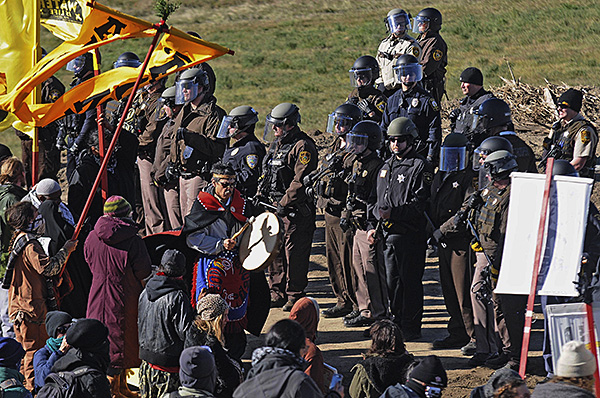 October 10 protest near Standing Rock, North Dakota, part of the battle to stop the Dakota Access Pipeline that endangers the water supply and encroaches on land that is precious to the traditions of the Native people in the area.