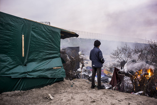 "The Calais ""jungle,"" where eight to ten thousand refugees were living before the French government launched its destruction."