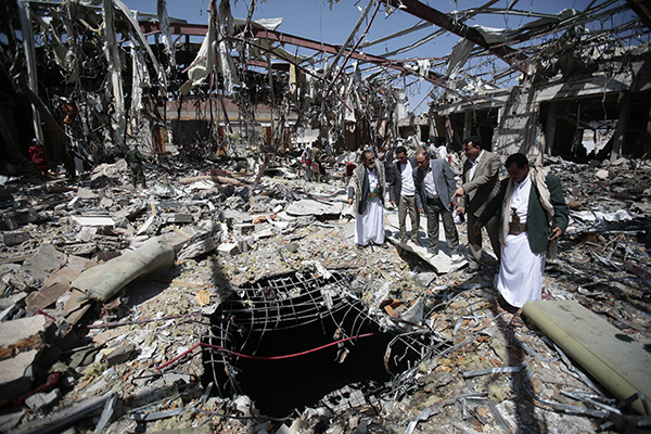 Rubble after a funeral hall was destroyed by a Saudi-led airstrike in Sanaa, Yemen, October 13.