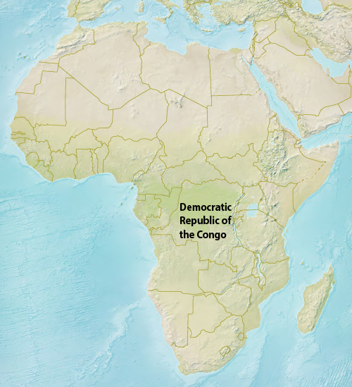 map of Africa showing Democratic Republic of the Congo