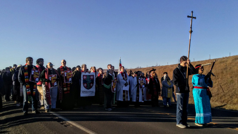 November 3: 300 clergy and lay people from all over the country this morning, answering a call that was put out for the religious community to come to Standing Rock for an action to stand in solidarity with the Native people.