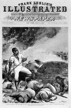 A magazine cover reports on the 1873 attack on Black people demanding their right to vote in Colfax County, Louisiana, by armed white supremacist mobs.
