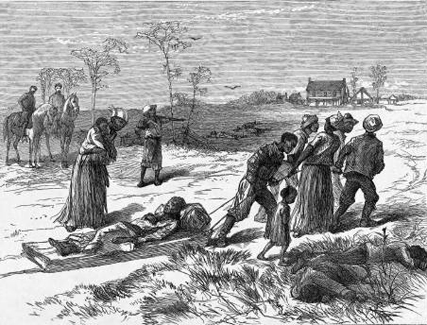 A drawing from Harpers Weekly depicting Black people collecting the bodies of the murdered after the massacre.